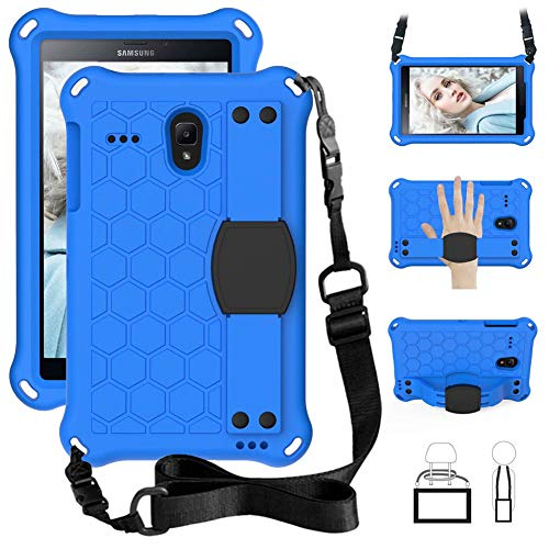 iChicTec Kids Case for Samsung Galaxy Tab A 8.0 T387 T385 T380,Tab E T377 T378,Tab 4 T330 T337,Shockproof Tablet EVA Cover with Shoulder Strap and Hand Strap,8 Inch (Blue)