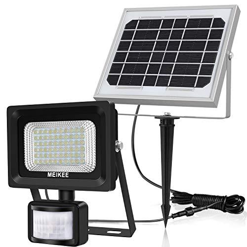 Luz Solar con Sensor de Movimiento MEIKEE 60 LED Lámpara Solar de Exterior Foco Solar Impermeable para Jardín, Garaje, Camino, Patio