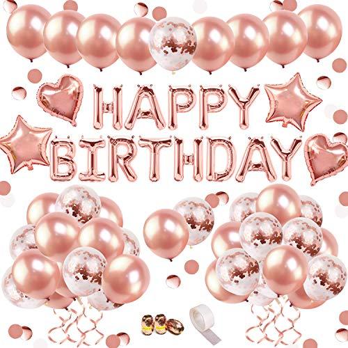 iZoeL Geburtstags Dekoration Rose Gold Happy Birthday Girlande Folienballons 36 Ballons 15 Rosegold Konfetti Luftballons & 4 Herz und Stern Folie Ballons für Mädchen Freundin Tochter