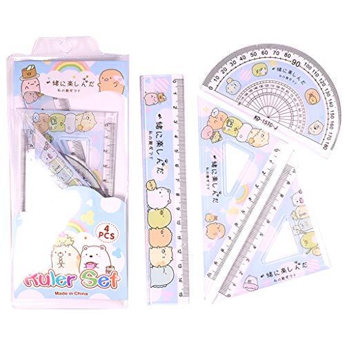 ZJL220 4 Stück/Set Kawaii Cartoon Straight Triangle Lineal Winkelmesser Zeichnen Zeichenwerkzeug