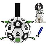 TIRTI Upgrade Dog Soccer Ball with Grab Tabs, Interactive Football Puppy Balls for Small & Medium Breeds, Fun Water Pet Dog Toys