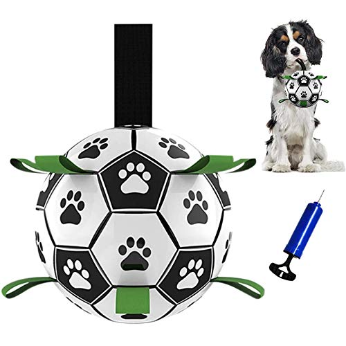 TIRTI Upgrade Dog Soccer Ball with Grab Tabs Interactive Football Puppy Balls for Small amp Medium Breeds Fun Water Pet Dog Toys