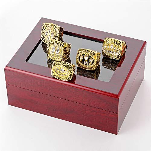 Luxuon Ringe5 Stücke des Mannes Ringe Sets, San Francisco 49ers Championship Ring Die Super Bowl Replik Ringe Sammlung Geschenk Größe 11 mit Vitrine