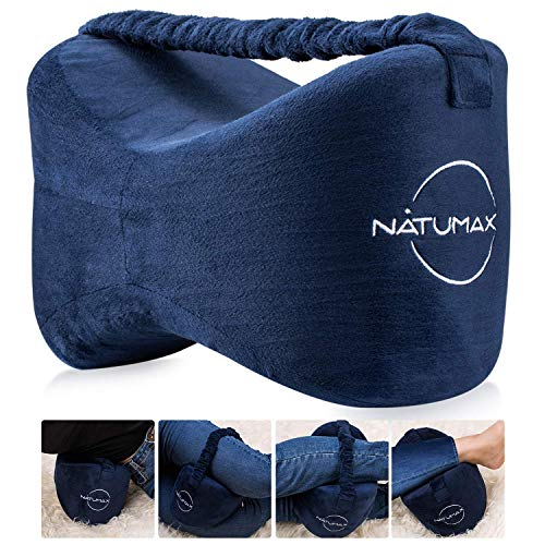 Knee Pillow for Side Sleepers - Sciatica Pain Relief - Back Pain, Leg Pain, Pregnancy, Hip and Joint Pain - NATUMAX Memory Foam Leg Pillow + Free Sleep Mask and Ear Plugs