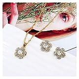DSJTCH Europa y los Estados Unidos Nueva Flor Colgante de Cristal Collar de Diamantes de Cristal Juego de joyería de Oreja Accesorios de Novia Decoración de la Noche (Color : White)