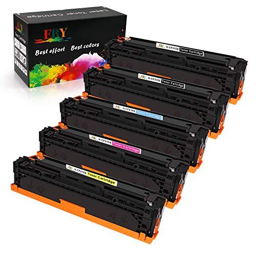 EBY Compatible HP 131X 131A Cartuchos de Tóner Reemplazo para HP CF210X CF211X CF213X CF212X para HP Laserjet Pro 200 Color MFP M276nw M276n M251nw M251n (2 Nergo,1 Cian,1 Magenta,1 Amarillo)