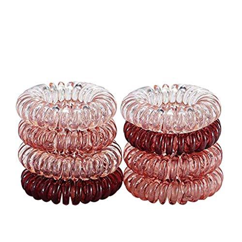 YUECI 8 Stück Frauen Mädchen Kunststoff Spiral Haargummis Anti Spliss Spirale Telefonkabel Zopfgummi Haarband binden Haare Falten Fitness Haarband Pferdeschwanz Halter