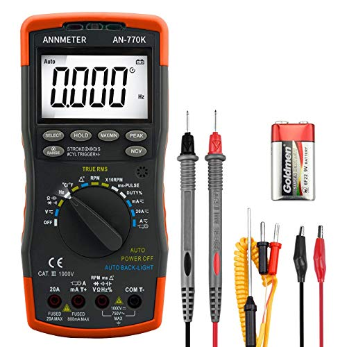 Digital Multimeter Engine Analyzer, Auto-Ranging 6000 Counts Voltage Meter, Volt Ohm Amp DMM Tester, Injection Pulse, Dwell Angle, RMP Tester for Automotive Professionals (ANNMETER AN-770K)