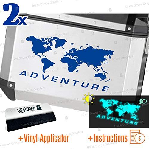 2 pegatinas reflectantes World Adventure universales para varios tipos de maletas (azul)