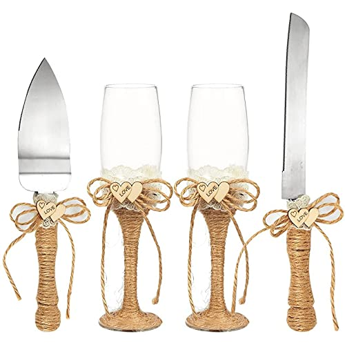 4-Piece Wedding Supplies - Cake Knife, Pie Server Set and Wedding Champagne...