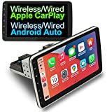 COGAMICHI Adjustable Single Din Car Stereo 10.1 Inch Wireless/Wired CarPlay & Android Auto Bluetooth AM/FM Screen Mirror Car Radio Receiver in-Dash 1 Din Head Unit Car MP5 Multimedia Player