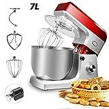 Robot Cocina,Con 7Litre Stainless Steel Mixing Bowl,6 Variable Speed Settings,1200W Multifuncional Low Noise Batidora Amasadora De Reposteria Para Hogar Y Cocina