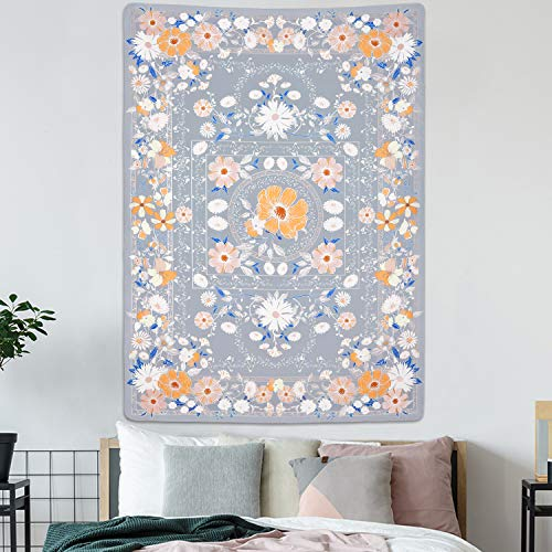 Folk Floral Tapestry Mandala Tapestry Bohemian Tapestry Sketched Floral Medallion Tapestry Boho Wall Tapestries for Room(51.2 x 59.1 inches)