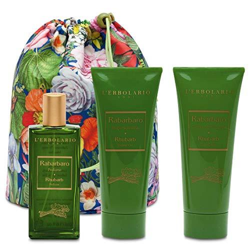 L'Erbolario Beauty Bag Trio Rhabarber - Parfüm 50 ml - Schaumbad 100 ml - Creme für der Körper 100 ml