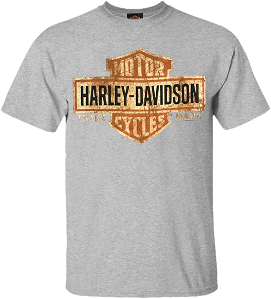 Choice Harley-Davidson Men's Tee Cheap mail order sales Distressed Gray Bar T-Shirt Shield