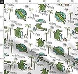 Krokodil, Alligator, Tropisch, Strand, Palmen, Tiere Stoffe