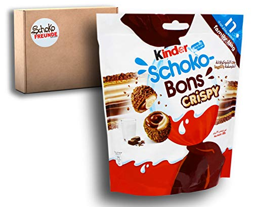 Kinder Schoko bons Crispy – Limited Edition - Schokobons Kinderschokolade Geschenk aus Dubai - knuspriger Waffelkeks mit Milch- und Haselnusscreme - 1er Pack (1 x 89g)
