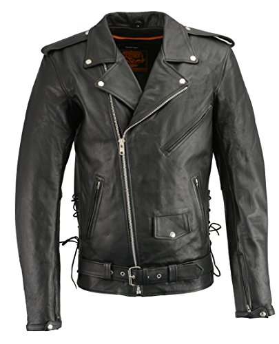 Milwaukee Leather LKM1711TALL Men's Black Tall-Sizes Side Lace Police Style Leather Jacket with Gun Pockets - Large-Tall