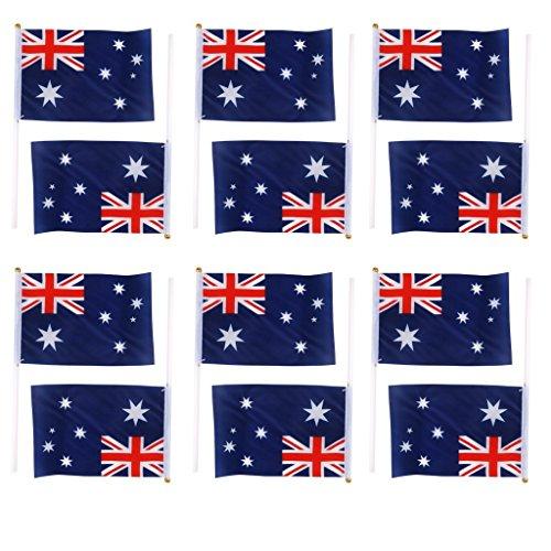 12 drapeaux australien à agiter avec mât en plastique, de la marque Yeah67886 (21 x 14 cm), pour fêtes