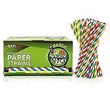 Pajitas de Papel Biodegradables - Ideas de Regalo Originales y Coloridas - Paquete de 400 uds (6 mm * 19,5 cm, Multicolor)