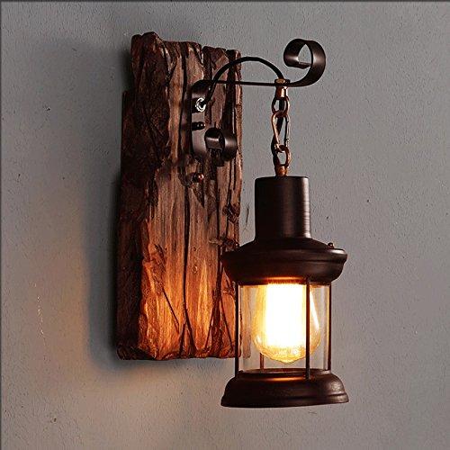 Vinteen American Rural Style Wandleuchte Schlafzimmer Nachttisch Kreativität Persönlichkeit Vintage Industrial Wind Gangschiff LOFT Schiff Holz Wandleuchte Wandleuchte Wand Laterne