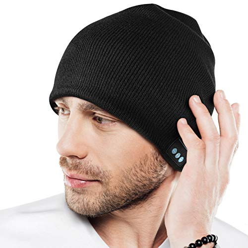 Stocking Stuffers Gifts for Men, Bluetooth Beanie Hats, Gifts for Young Men/Teen/Dad, Wireless Bluetooth 5.0 Beanie Hat Built-in Stereo Speaker & Mic, Winter Unique Men Gifts for Christmas Black