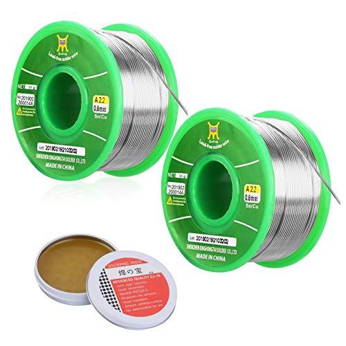 2 x alambre de soldadura con pasta de fundente sin plomo rollo de alambre de estaño Sn99.3 Cu0.7 con núcleo de resina para soldadura eléctrica y bricolaje, 50 g