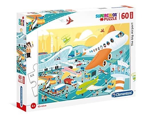 Clementoni-26447 Puzzle Suelo 60 Piezas El Aeropuerto, Multicolor (26447.6) (Juguete)