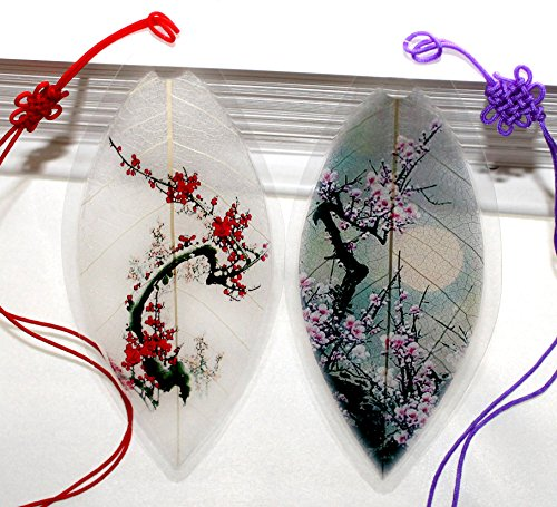 Lucore Home Leaf Bookmarks -Made of Real Leaves - 2 Pcs Cherry Blossom Tree Lucky Charm, Ornament, Art Decoration Gift