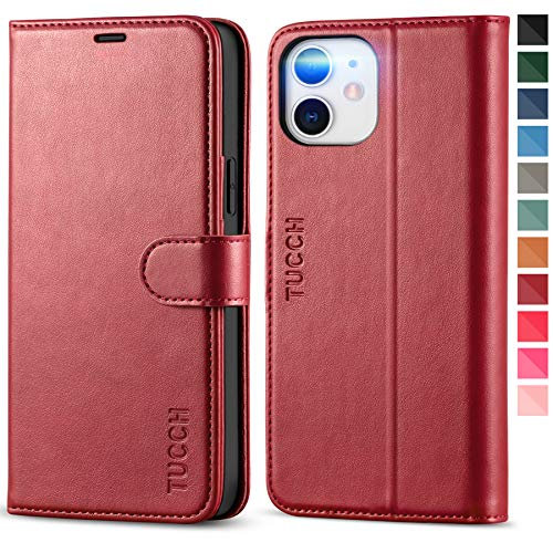 TUCCH Wallet Case for iPhone 12 Pro/iPhone 12, RFID Blocking Card Slot TPU Interior Protective Case, Magnetic Folio Shockproof PU Leather Stand Flip Cover Compatible with iPhone 12/12 Pro 5G, Dark Red