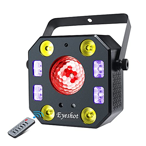 Disco light DJ lights, Eyeshot 5 in 1 Stage Light with Magic Ball, Led Par Light Pattern Strobe Light with UV Effect, Remote and DMX Control for Stage & DJ Lighting, Wedding Church Disco Party Lights