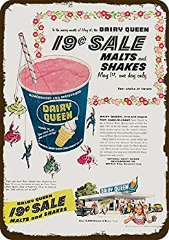 1956 Dairy Queen Ice Cream Milk Shake Restaurant Vintage Look Replica Metal Sign Retro Wall Home Bar Pub Vintage Cafe Decor 8x12 Inch