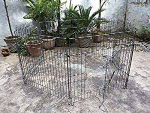 PSK PET MART Play Cage with Pen-Exercise Fence for Pups, Rabbit and Guinea Pigs 36 Inch