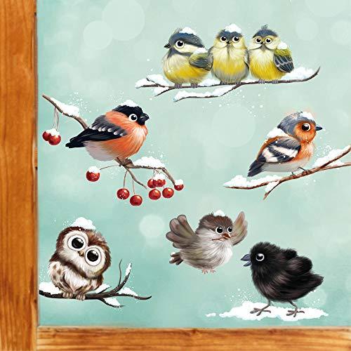 Wandtattoo Loft Fensterbild Weihnachten Vögel Set Vogelkinder Wiederverwendbare Fensteraufkleber Fensterdeko Kinder DIN A4