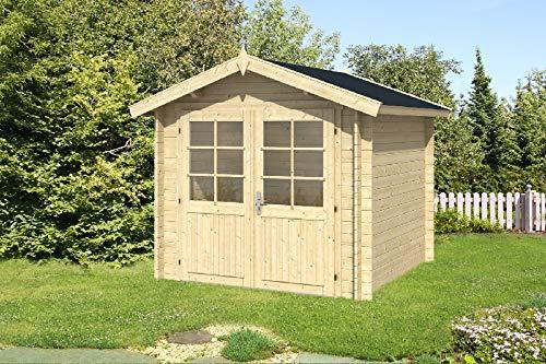 Alpholz Gartenhaus Bremen A aus Massiv-Holz | Gerätehaus mit 28 mm Wandstärke | Garten Holzhaus mit Imprägnierung (pinie) | Geräteschuppen Größe: 250 x 250 cm | Satteldach