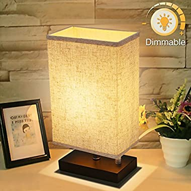 Dimmable Bedside Lamp, KingSo Solid Wooden Base Plug In Table Lamp With Dimmer Knob Switch E26 Nightstand Lamp Fabric Shade For Bedroom Babyroom Living Room