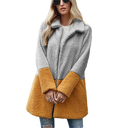 ZFQQ Mittellange, pelzige Cardigan-Bubble-Fleecejacke für Damen im Herbst und Winter