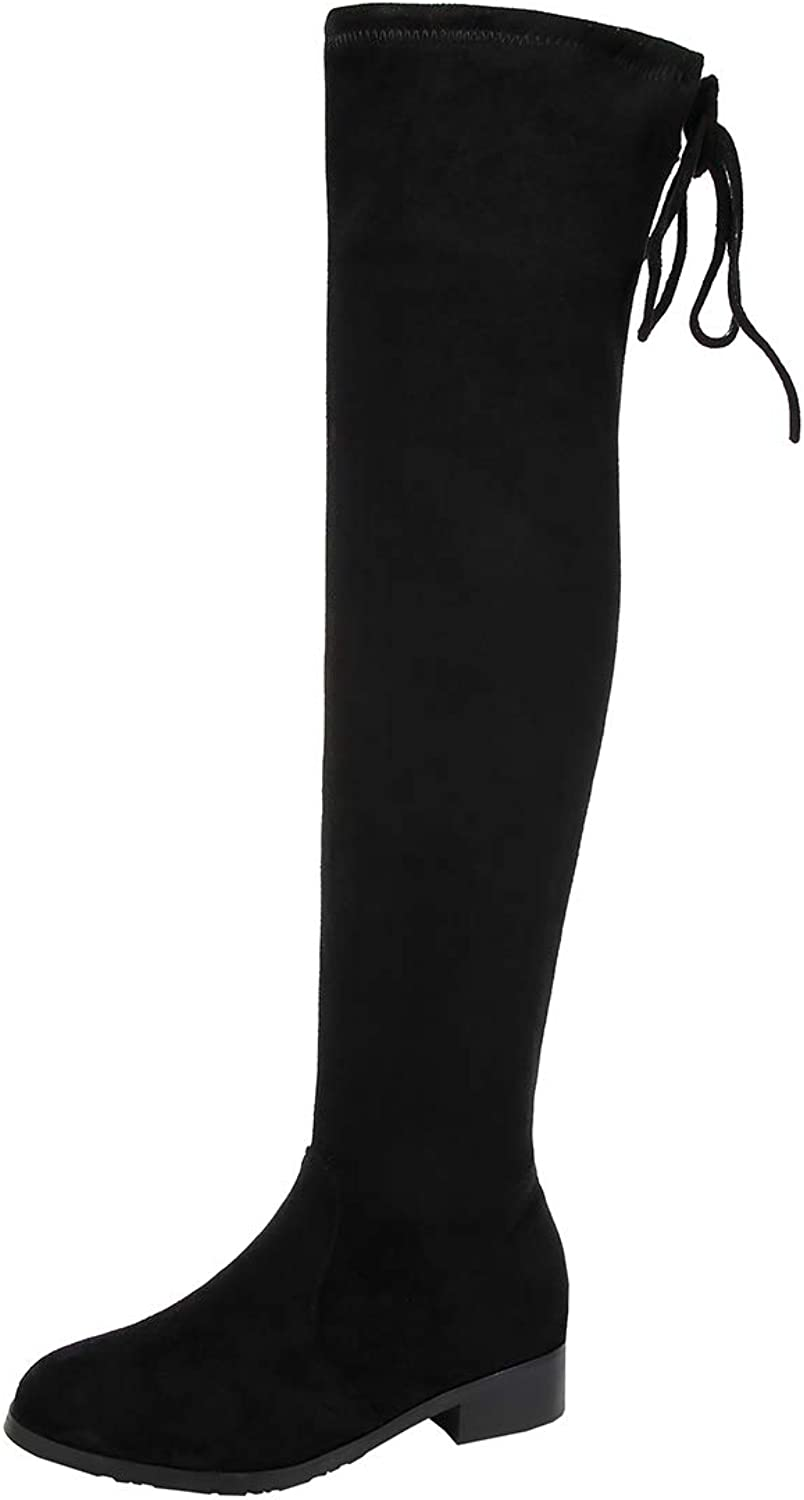 Artfaerie Womens Flat Thigh High Boots Stretch Over Knee Lace Up Boots Zip Up Ladies Wide Calf Boots