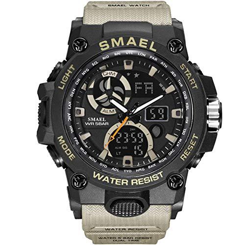 SMAELBand Reloj del Deporte de los Hombres de Juguete Ejército Militar Relojes de los Hombres De Pulsera Impermeable S de Choque 50m La Moda de los Hombres Relojes Deportivos 8011,Caqui