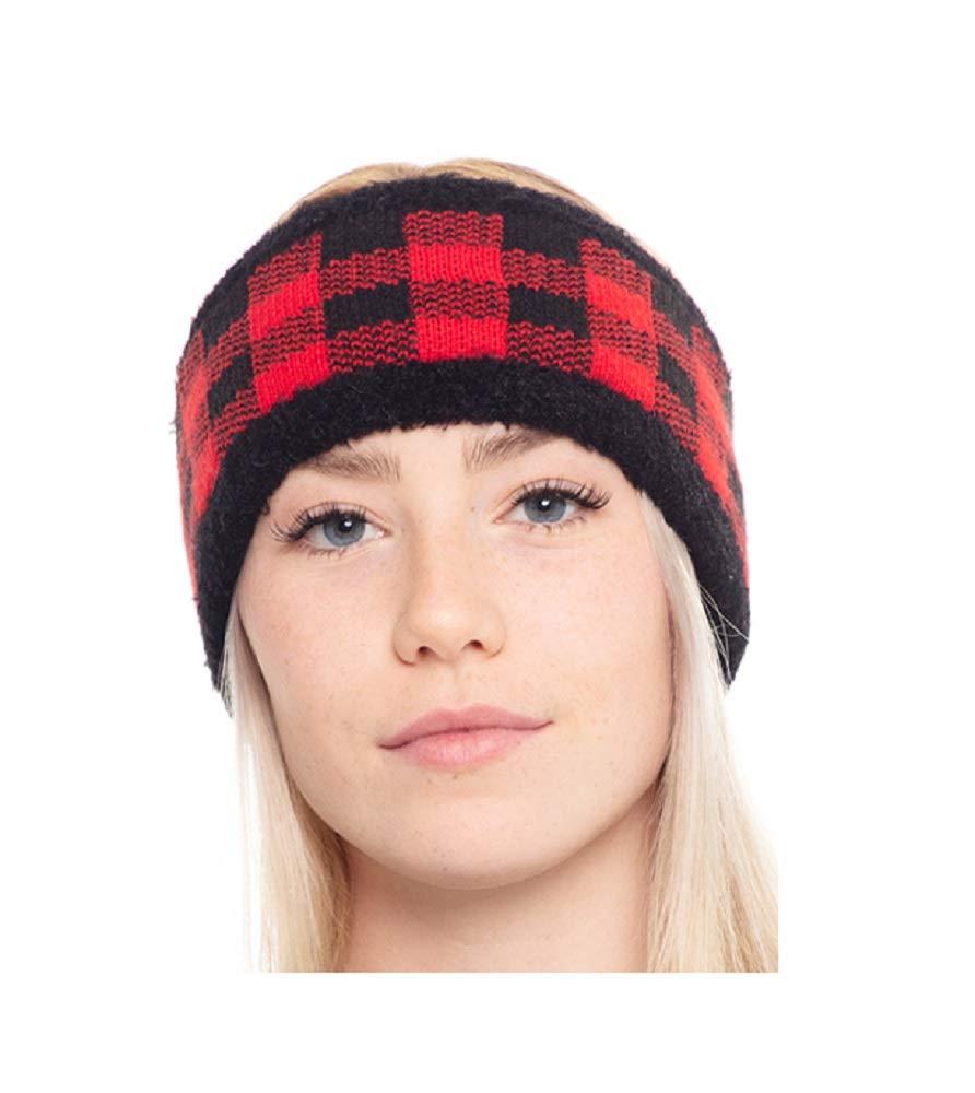 Styline Buffalo Plaid Headband Ear Warmer Winter Fall Checkered Womens Accessory Jp (Red Black)
