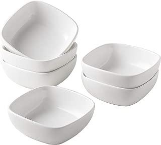 UIBFCWN Square Porcelain Ramekins, mini Square Appetizer Bowls, Dessert Bowls/condiment bowls/Ceramic Dip Bowls/Custard Dish/ Pudding cups/ souffle dishes 4.4 oz, White, Set of 6