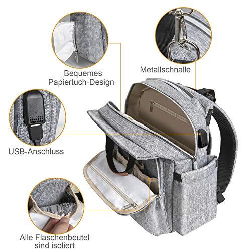 Baby Reise Wickeltasche, multifunktional und mit maximaler Kapazität, mit 1x Wickelauflage und 2x Sicherheitsgurten + Baby Thermo Flaschenschutztasche + USB Ladefunktion(Grau)