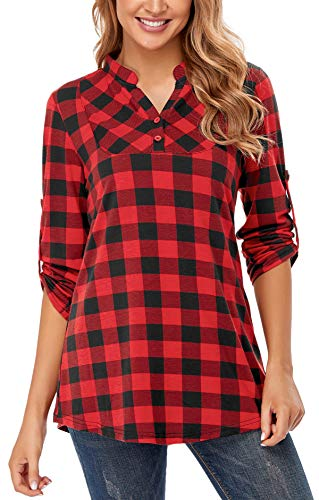 Miusey Formal Tops for Women, Misses Color Block Shirts Gingham Business Long Sleeve Career Clothing Plaid Pattern Shawl Collar Neckline Form Fitting Designer Red XL
