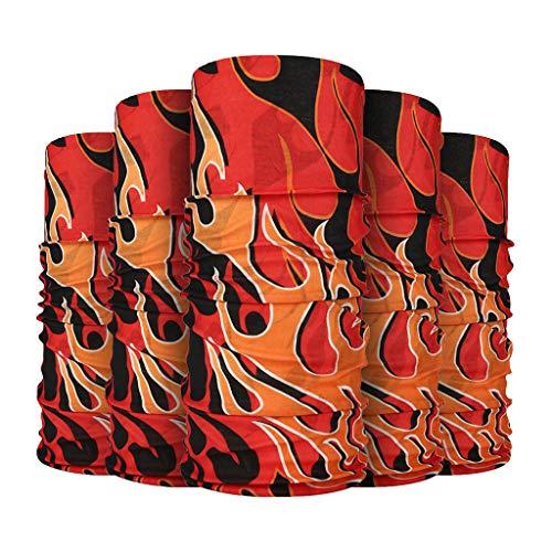 MOTOCO 5Pcs Multifunktionstuch Herren Schnelltrocknend Atmungsaktiv Kopftuch Damen Super Elastisch Sonnenschutz Halstuch für Motorrad Laufen Wandern(25X50CM.Y)