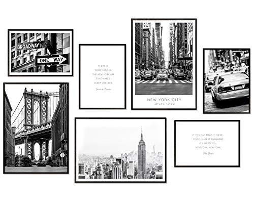 Hyggelig Home Premium Poster Set – 7 immagini abbinate in elegante set – Collage Quadro da parete – 3 x DIN A3 + 4 x DIN A4 – Set New York senza cornice