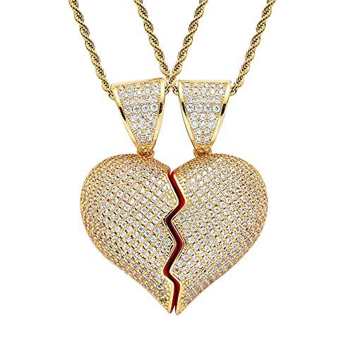 ASUROM Collar De Dos Mitades De Corazón Roto Colgante De Hip Hop Micro Incrustaciones De Circón Corazón Roto Colgante Magnético Collar De Pareja,A Pair of Gold