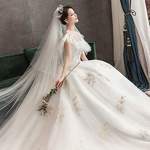 Kleid Hochzeitskleid ein Haupthochzeitskleid die Braut Luxus Long Tail Brautkleid Rock Zwei Sen War Thin Minimalist Line Braut Brautkleid Prom/Æëµ ؿ Î/s, L-F, Æëµø¿î, Xl