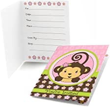 Big Dot of Happiness Pink Monkey Girl - Fill-in Baby Shower or Birthday Party Invitations (8 Count)