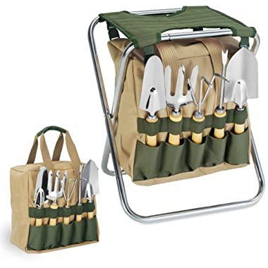 Picnic Time 5-Piece Garden Tool Set w/ Removable Tote & Folding Seat