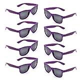 Neon Colors Party Favor Supplies Unisex Sunglasses Pack of 8 (Purple)